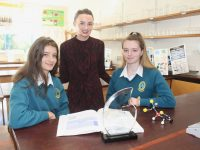 Mercy Mounthawk students Diana Meriaki  and Jessica Murphy with teacher Eimear Nolan. The students have qualified for a national science competition final next month. Photo by Dermot Crean