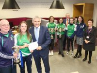 In front; Na Gaeil ladies team manager Eddie Sheehy with Na Gaeil captain Susan Fernane and AIB Tralee Branch Manager, Stephen Stack. Also included at back is Na Gaeil players Sarah Barrett and Cara O'Neill, Kieran O'Donovan of AIB Tralee, player Clodagh McHugh, Secretary of Na Gaeil Ladies Club Janice McHugh and Siobhan Barrett of AIB Tralee. Photo by Dermot Crean