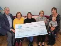 At the presentation of the cheque to Recovery Haven, the proceeds of the Jamie Wrenn/Mike Dean Memorial Walk, this week were Dermot Crowley of Recovery Haven, Marian Barnes, Sandra Finn, Maureen O'Brien and Mary Lynch holding Rory O'Mahony. Photo by Dermot Crean