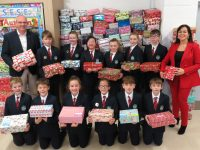 Scoil Eoin Students Council with Shoeboxes.