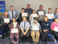 A group from St John of God in Ashe Street who received certificates at Tralee Garda Station accompanied by instructors Cormac Galvin and Sarah O'Halloran. Gardai present were Garda Cathy Murphy, Garda Leanne Houseman and Garda Shane O'Reilly. Photo by Dermot Crean