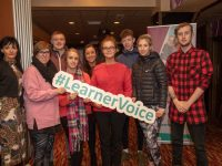 Students and teachers from KCFE attending the National FET Lrearner Forum in The Grand Hotel, Tralee on Tuesday, Mary Lucey (Principal of KCFE), Sean Maunsell, Erin Linehan, Michaela Brosnan (teacher), Leona Stack, Senan Wrenn, Kate O'Connor and Conor JJ Marchi. Photo: Joe Hanley