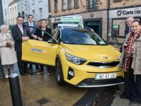 Des Horan accepts the keys of the new Kia Stanic from Cara Credit Union CEO Pa Laide. Also included is, from left;  Hannah Horan, Brand Ambassador for McEligott's David Moran, Emma O'Connor, Patrick McElligott of McElligott's, and Emma O'Connor. Photo by Dermot Crean