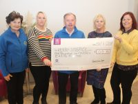 At the presentation of a cheque to Kerry Hospice on Tuesday were, from left; Mary Shanahan (Kerry Hospice), Rachel Gardiner, Joe Hennebery (Kerry Hospice), Claire Keyes and Jayne Roche. Photo by Dermot Crean