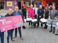 Launching the new Tralee Chamber Alliance vouchers system were, in front; Aidan Kelly, Paul Ruane and Ken Tobin of Tralee Chamber Alliance with, at back; Maeve Roger (CH Chemists), Anna Bunyan (Shaws), Peter Harty (CH Chemists), Mike Quinn (Shaws), Maria Guthrie (Shaws), Kevin McCarthy (Garvey's Supervalu) and Rebecca O'Connor (CH Chemists). Photo by Dermot Crean