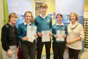 Mercy Mounthawk students Lucy O'Sullivan Michael O'Gara and Tiernan Brosnan who were runners-up in the ISTA Science Quiz at the IT Tralee on Thursday night, with teachers Mary Enright and Sheila McCarthy. Photo by Dermot Crean