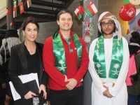 Head of English Language Studies at Castel Education Denise Healy and lecturer Cormac McCarthy with Omani student Ali Alghaithi taking part in International Day at the college on Wednesday. Photo by Dermot Crean