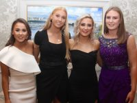 Chloe O'Connor, Ellie McElligott, Claire Fealey and Síofra O'Shea at the Kerry Ladies Football Awards Night in the Rose Hotel on Saturday night. Photo by Dermot Crean