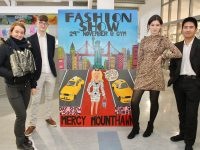 Launching the Mercy Mounthawk Fashion Show were TY students Erin O'Halloran, Ciara Collins, Isobel Keane and Alan Ybanez. Photo by Dermot Crean