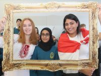 Mercy Mounthawk students with connections to other countries, Liliia Kurochkila (Ukranian), Qintar Aneed (Pakistan) Ciara Samy (Egypt), looking forward to next week's Intercultural Night at the school. Photo by Dermot Crean