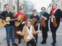 Launching the Christmas Marquee On The Mall were, in front, Lisa Curran, with musicians Owen Rua, Daragh Breen, Conor Breen and Lucy White and Dovile Baltoniene of the Scotia Ensemble. Photo by Dermot Crean