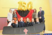Teachers Mary Slattery, Michelle Broderick, Andrea Brosnan and Principal Barry O'Leary with pupils at the O'Brennan NS 150th celebrations on Friday morning. Photo by Dermot Crean