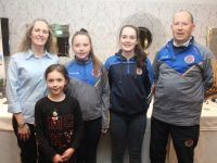 Carmel O'Shea Moloney, Sophie Brick, Shauna Harris, Saoirse Moloney and Mike Roger O'Sullivan at the launch of Tralee Parnells GAA Club's adult Camogie at The Meadowlands Hotel on Friday night. Photo by Dermot Crean