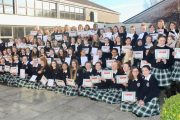 Third year students at Presentation Secondary School in Tralee who received First Aid certificates from the Tralee Branch of the Irish Red Cross on Monday morning. Photo by Dermot Crean