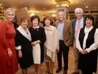 Maria Walsh, Maura Fitzgerald, Betty Kelly, Irene O'Donnell, Niall Kelly, Mike O'Donnell and Noreen Walsh at The Rose Hotel's Thanksgiving Dinner on Thursday night. Photo by Dermot Crean