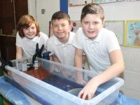 Thomas, Gavin and Adam taking part in Science Day at Scoil Eoin on Wednesday. Photo by Dermot Crean