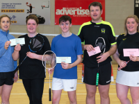 The November Handicap Competition in Badminton commenced in Killarney Sports & Leisure Centre Sunday 11 November. This photograph shows the winners and runners up  of the Division 4 Competition, Edel Kenny Co Treasurer presenting Josie Gilbert,  Ballyheigue & Cathal Donovan,  Annascaul with their prizes along with Kevin O'Mahony,  Ballyheigue and Rita McCarthy,  Listowel.