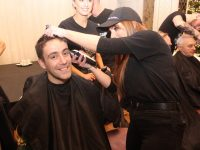 Radio Kerry's Andrew Morrissey getting shaved by Stephanie Kerins at the Movember Challenge Shave-Off in The Rose Hotel on Thursday night. Photo by Dermot Crean