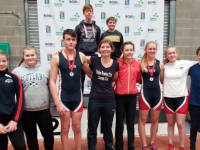 Tralee Rowing Club athletes at the Irish Provinces Indoor Rowing Competition. Front row: Rosie Giles, Amy Darcy, Nicolas Larkin (MJ15, 1st place 1000m), Heidi Giles (Club Captain), Alayna Gannon, Sarah Fitzgerald (WJ16, 2nd place 500m and 3rd place 2000m), Emma Fitzgibbon and Ruairi Healy. Back row: Daniel Fitzgerald and Ted Hanly. Missing from the photo, Liam Daly and Shane Deane.