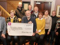 At the presentation of a cheque to Recovery Haven on Wednesday night at Ó Riada's, the proceed of the Ballymac Vintage Club Rally and Fun Day, were, front; Dermot Crowley and Maureen O'Brien of Recovery Haven with Chris Robbins and Joan Fleming. Back from left; James Conway, Noel Keane, John Duggan, Joan Glover, George Glover and Mary Lynch. Photo by Dermot Crean