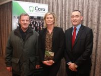 David Healy with Chairperson of Cara Credit Union Caroline Sugrue and CEO Pa Laide at the Cara Credit Union AGM in The Rose Hotel on Monday night. Photo by Dermot Crean