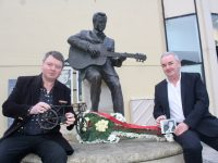 Mark Leen and Frank Hartnett who laid a wreath at the Christie Hennessy statue on Tuesday morning to mark the 11th anniversary of the singer's death. Photo by Dermot Crean