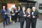 Launching the Enable Ireland Kerry Diamond Ball at Ballygarry House Hotel, were, in front; Sean Scally of Enable Ireland Kerry, Siobhan Murphy of The Kerryman and Billy Nolan of Hilsers. At back is Mark Teahan of Tralee Printing Works, Brian Hurley, Breeda Hurley, Celene Moloney and Padraig McGillicuddy of Ballygarry. Photo by Dermot Crean