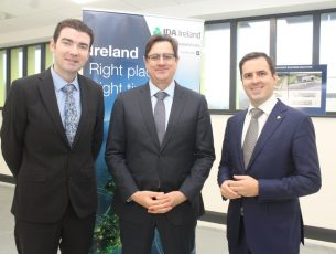 Minister Brendan Griffin with CEO of Central Pharma Alwyn Smit and Martin Shanahan IDA at the plant in Dromtacker on Monday morning. Photo by Dermot Crean