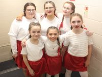 Young performers before going on stage for the Jackie O'Mahoney School of Performing Arts 'A Christmas Cracker' show on Wednesday night. Photo by Dermot Crean