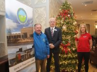 Joe Hennerbery of Kerry Hospice, General Manager of The Rose Hotel, Mark Sullivan and Michelle Greaney of Optimal Fitness  launch the New Year's Eve 10/5k Run in aid of Kerry Hospice. Photo by Dermot Crean