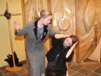 Dakotah Carter O'Flynn and Keela Hughes rehearsing for 'Big Maggie' at Mercy Mounthawk. Photo by Dermot Crean