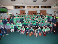 Na Gaeil U12, 14, & 16 footballers along with their mentors at the awards evening in the clubhouse on Sunday. Photo by Joe Hanley
