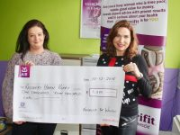 Majella Duignan (right) presents a cheque, the proceed of a coffee morning, to Marisa Reidy of Recovery Haven. Photo by Dermot Crean