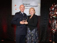 Sergeant Dermot O'Connell receiving an RSA Leading Light award from RSA Chairperson, Liz O'Donnell