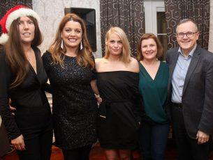 Jill St John Harrington, Linda O'Mahony, Elaine Kinsella, Elma Nix and x enjoying the Radio Kerry Christmas party night at The Meadowlands Hotel on Saturday night. Photo by Dermot Crean