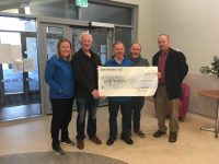 Mike O'Mahoney, Aidan Behan, Frank Egan presenting Kerry Hospice with cheque for €1000 following recent Battle of the Parish fundraiser.
