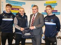 Liam Brosnan, Coach of IT Tralee accepts one of the gear bags sponsored by Eoin Kelliher (Financial Services).