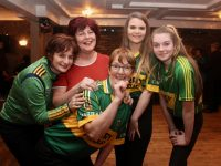 Jane Behan, Carmel Quirket, Kathleen O'Sullivan, Lorraine Hobbery and Amy O'Sullivan, participants in the upcoming Kerry Camogie 'Stars In Their Eyes' at the launch in The Forge Bar, Causeway, on Thursday night. Photo by Dermot Crean