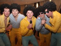 The Jackson 5 aka Barry Mahony, Padraig Logue, Darragh Behan, Mike Parker and James Barry at the Kerry Camogie 'Stars In Their Eyes' at Ballyroe Heights Hotel on Saturday night. Photo by Dermot Crean