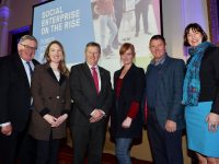 Repro Free: January 18th 2019: The power, potential and possibility of social enterprise in Ireland was on full display at the Social Enterprise Development Fund Showcase where eight enterprises who have received support from the €1.6 million fund discussed how they are tackling some of the biggest issues facing Irish society including homelessness, mental health, social inclusion and obesity. The Social Enterprise Development Fund was set up last year by Social Innovation Fund Ireland and Local Authorities Ireland with support from IPB Insurance and the Department of Rural and Community Development from the Dormant Accounts Fund. Pictured were George Jones Chairman IPB Insurance with Rosaleen O'Reilly, Sean Canney T.D, Minister of State for Community Development, Natural Resources and Digital Development with Courtney Sheehy and Junior Locke of Foodshare Kerry and Deirdre Mortell, CEO of Social Innovation Fund Ireland. Picture Jason Clarke