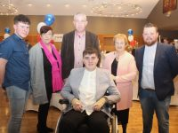 Ian O'Connell with Michael Horgan, Breda Doona, Michael O'Connell, Nora O'Connell and John Doona at the Lee Strand Garda Youth Awards at Ballyroe Heights Hotel on Friday night. Photo by Dermot Crean
