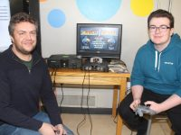 Software Development teacher David Crowley and student Colin McDaid who helped organise the gaming event for Jigsaw at Kerry College of Further Education on Thursday. Photo by Dermot Crean