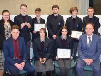 Colaiste Gleann Lí students who received awards with teachers and Principal. Photo: Francis Bennett