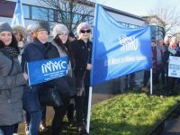 Nurses on the picket line outside UHK on Wednesday. Photo by Dermot Crean