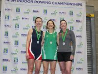 Tralee Rowing Club member Paula Moloney (left) receiving her 2nd place medal at the Irish Indoor Rowing Championship 2019 at the UL Sports Arena, Limerick, last Saturday. Photo by Stephen Kiely of 'Look at the lens Photography'.