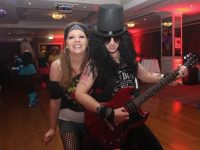 Deborah Sanderson and Karen Soffe at the 80s disco fundraiser in The Rose Hotel on Friday night. Photo by Dermot Crean