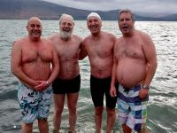 Among the swimmers who took part in the silver jubilee 'twelve swims of Christmas', at the bathing slip in Fenit were Dara Foley, Paddy Kissane, Billy Ryle and Fionán Harty, whose late father Fionán, the popular Tralee Pharmacist at CH Chemists, took part in the very first Christmas swim at the bathing slip in 1952.