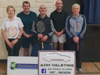 Pictured at the Launch of the 2019 Ballyheigue Badminton Tournament which takes place this Sunday Jan 20th. From Left to Right: Kathleen Gilbride Club Chairperson, Colm Griffin Purchase.ie, Maurice Lawlor Club Treasurer, Alan O Halloran AOH Valeting, Patsy O Connor Club Secretary.