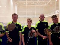Pictured at the Munster Individual Grade H Championships last Sunday at the University of Limerick where members of Ballyheigue Badminton Club. From Left to Right. Aidan Reidy, Brian Hehir, Michelle Fealy Corr, Alan O Halloran, Kyle Reidy.