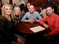 Michelle Corr, Karen O'Sullivan, Alan O'Halloran and Adrian Kenny, Ballyheigue, at the Kerry Badminton Association Table Quiz at O'Donnell's Mounthawk on Friday night. Photo by Dermot Crean